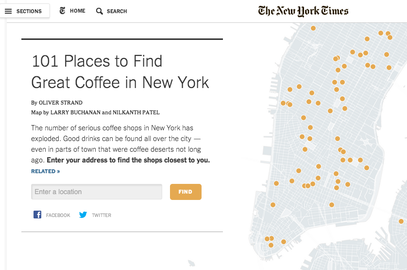 NY Times interactive coffee finding map