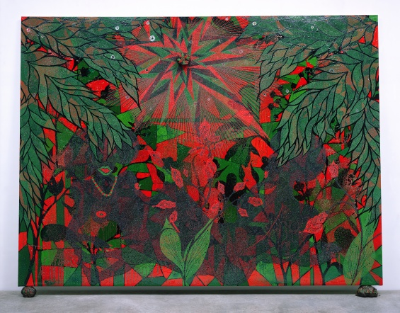 Chris Ofili, Afronirvana, 2002. Oil, acrylic, polyester resin, aluminum foil, glitter, map pins, and elephant dung on canvas,108 × 144 in (274.3 × 365.7 cm). Courtesy the artist, David Zwirner, New York:London, and Victoria Miro, London