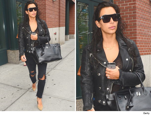 black leather jacket street style kim kardashian nyc