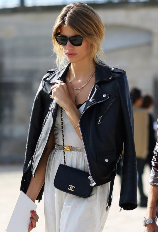 Street Snapper: The black leather biker jacket trend hits ...