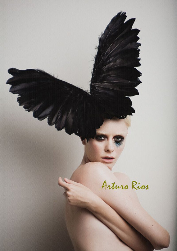 vogue halloween couture look for fashionista nolita hearts facinator headpiece feathers