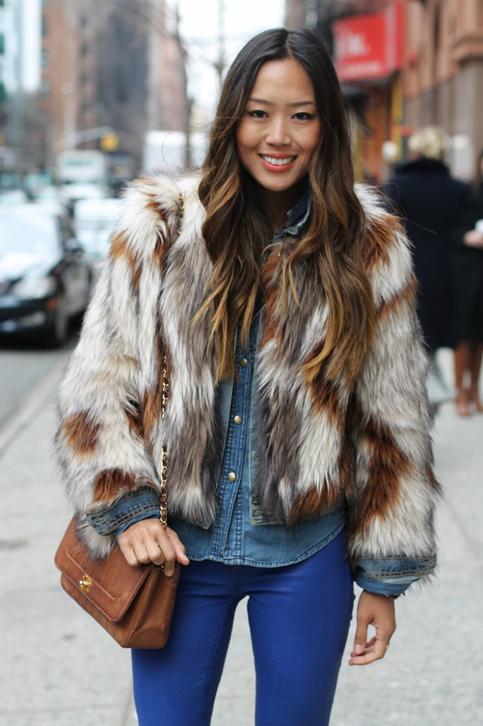 song of style blogger nyc fur coat