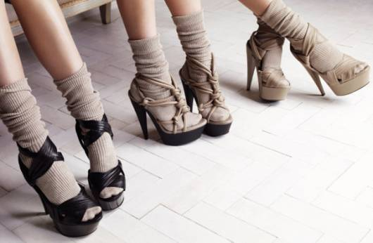 Burberry socks and heels trend