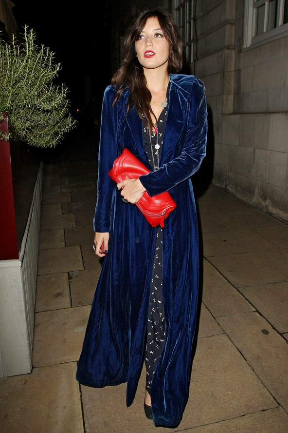 Daisy-Lowe_glamour_blue long velvet coat velvet holiday party dress