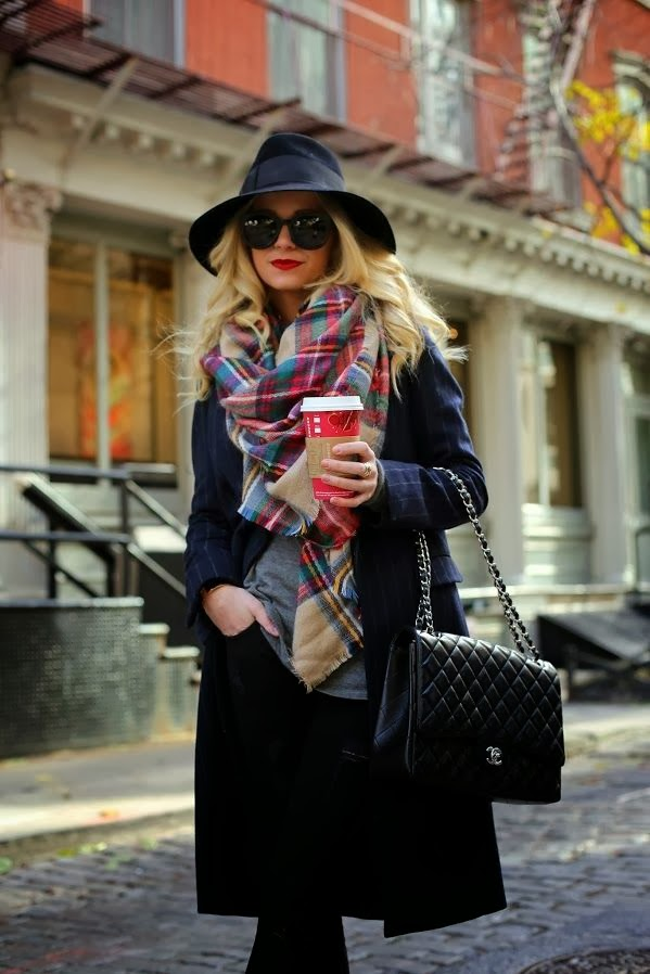 blanket scarf trend is hot in nyc scarf accessory nyc street style trend hot right now