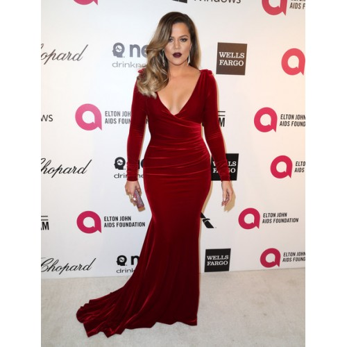 velvet holiday party dressKhloe Kardashian Burgundy Velvet V-neck Evening Dress 2014 Elton Johns Oscars party  2-500x500