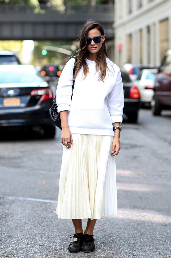 white skirt white sweater street style trend nyc fashion blogger meatpacking