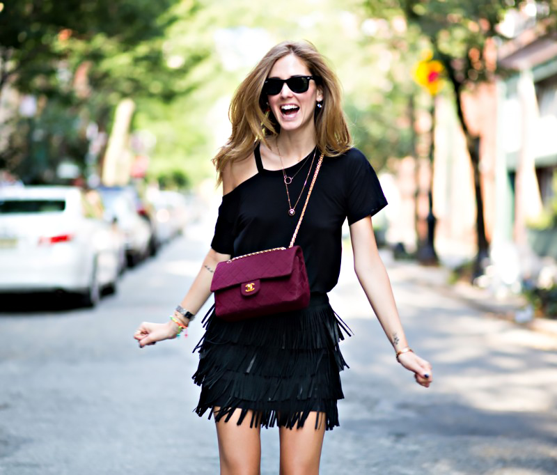 black leather fringed skirt fringing street style nyc hot fashion trend