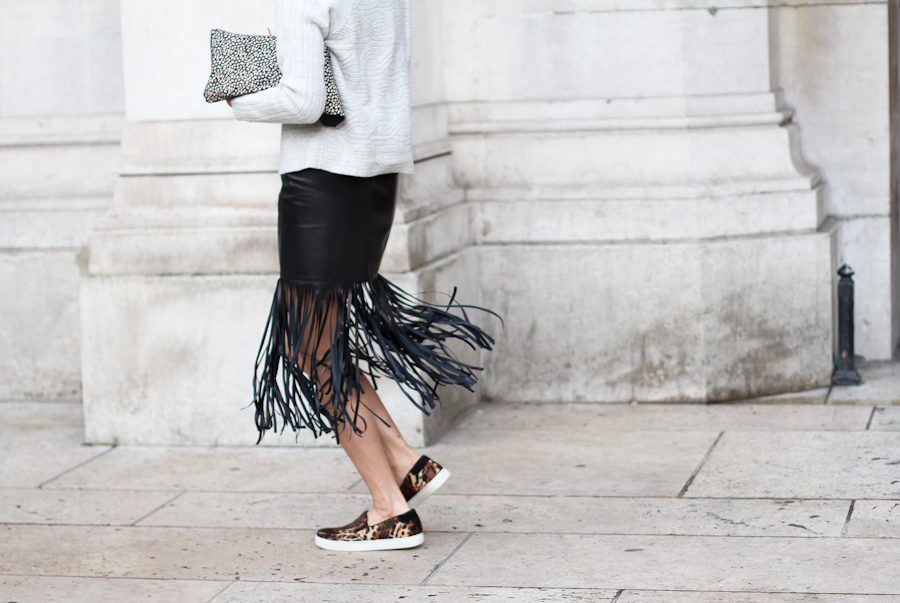 black leather skirt paris street style fringing street style nyc hot fashion trend