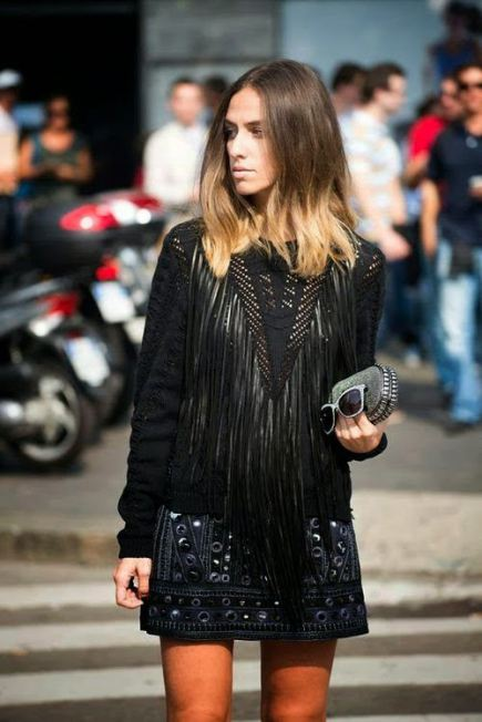 dolce and gabbana fringged leather black top fringing street style nyc hot fashion trend