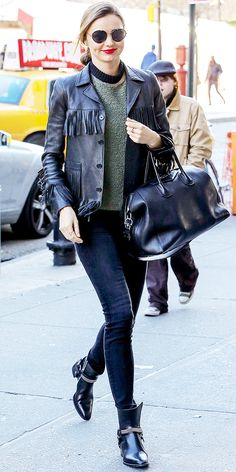 fringe leather trend miranda kerr fringing street style nyc hot fashion trend