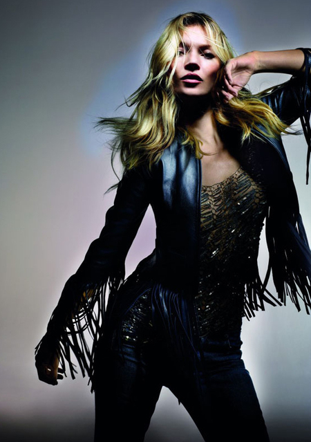 kate moss black leather fringed jacket fringing street style nyc hot fashion trend
