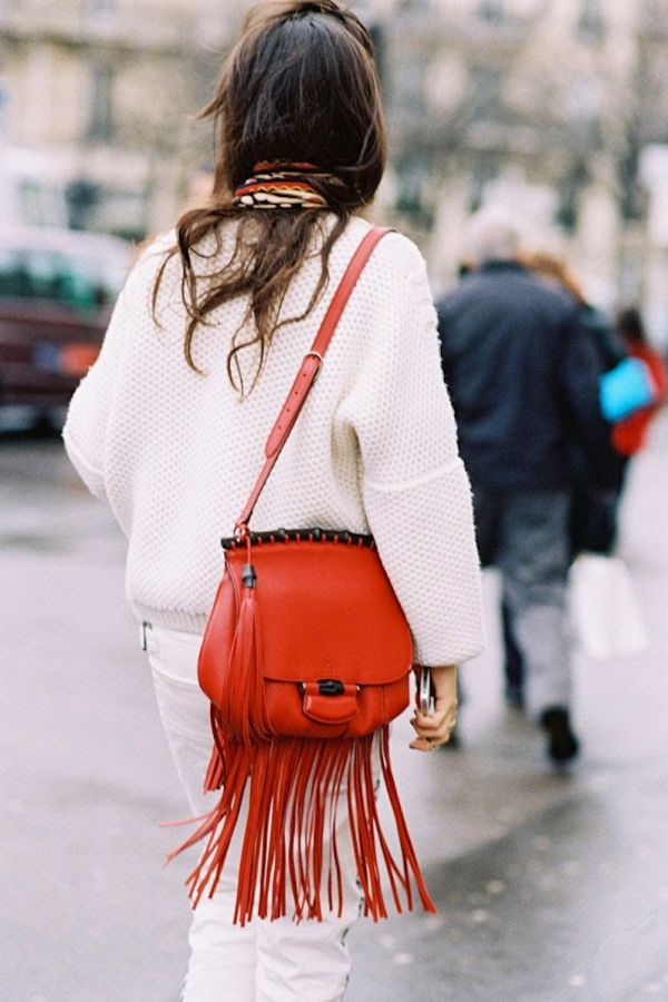red leather fringed bag fringing street style nyc hot fashion trend