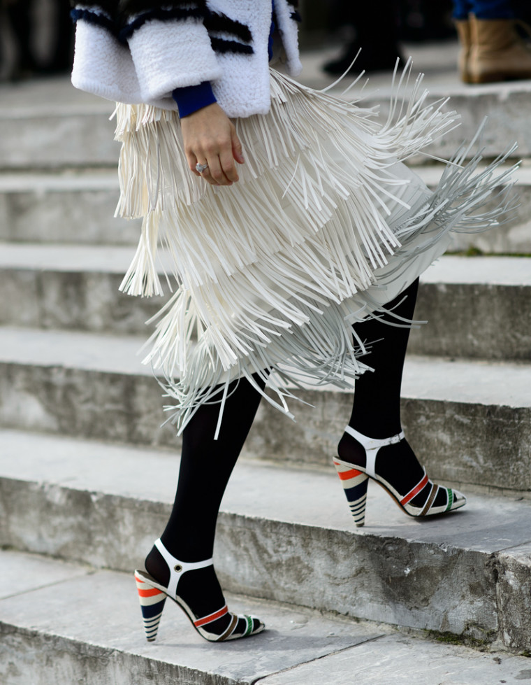 paris mbfw march 2015 cream layered fringed shirt street style