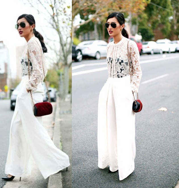 spring loose flowing white wide leg pants 2015 street style
