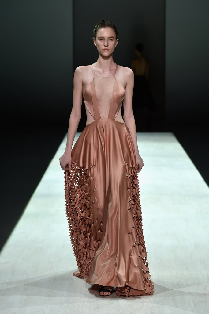 Bianca-Spender-Runway-2015-MBFWA-Australian-Fashion-Week long ballet dusty pinl gown dress