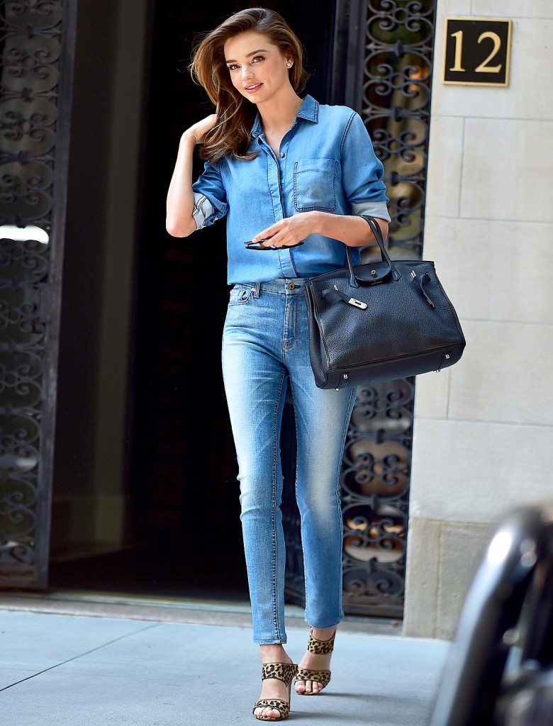 miranda-kerr-double denim on denim street style nyc 2015 street style nyc